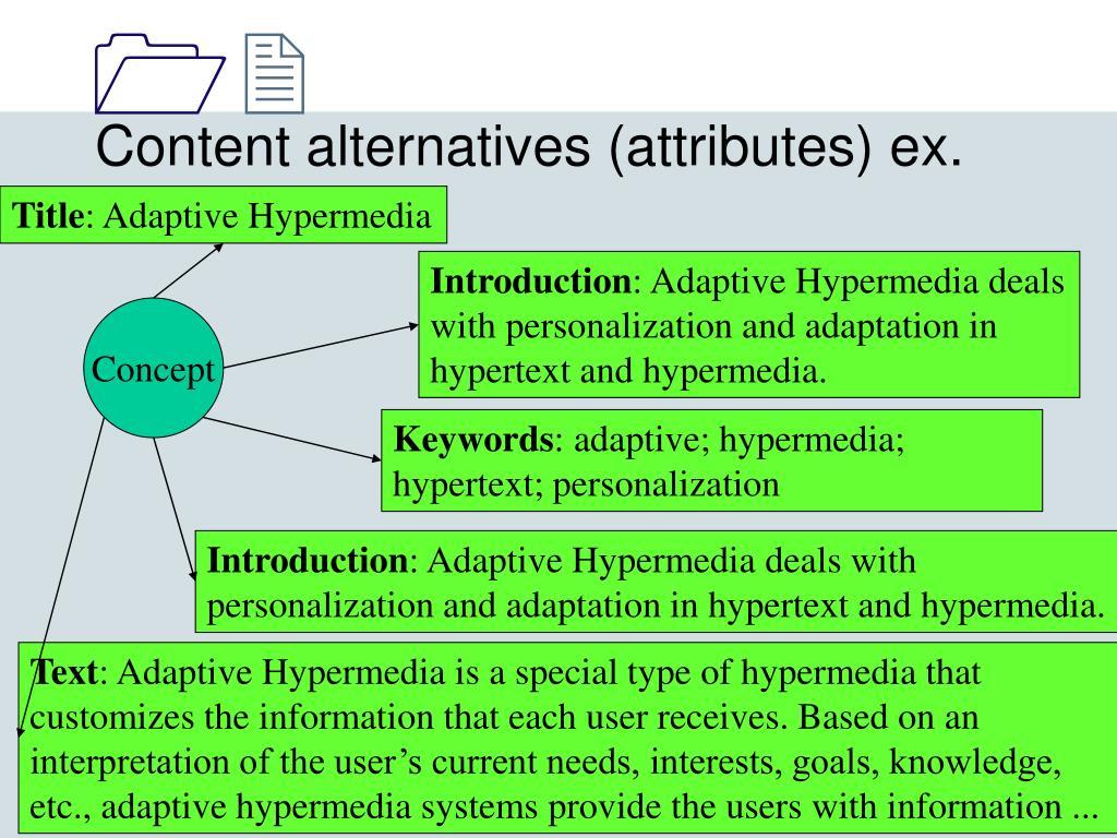 Content alternatives (attributes) ex.