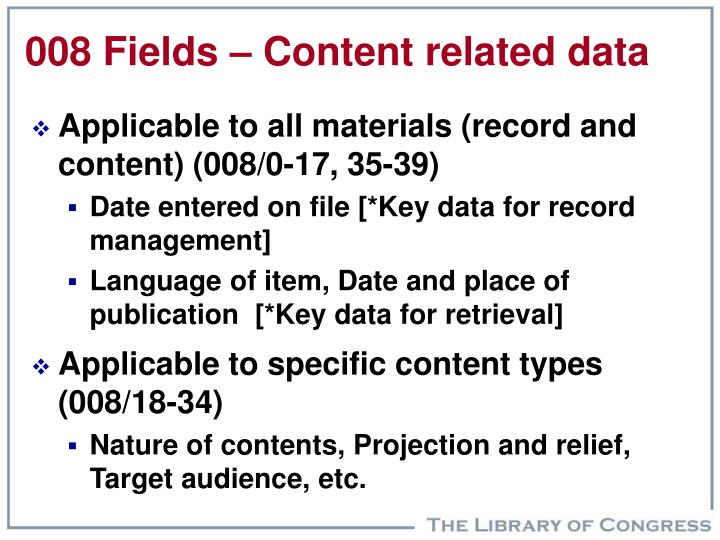 008 Fields – Content related data