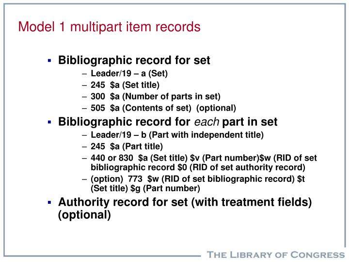 Model 1 multipart item records