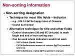 non sorting information
