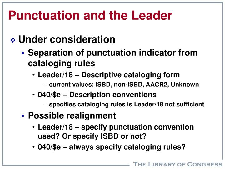 Punctuation and the Leader