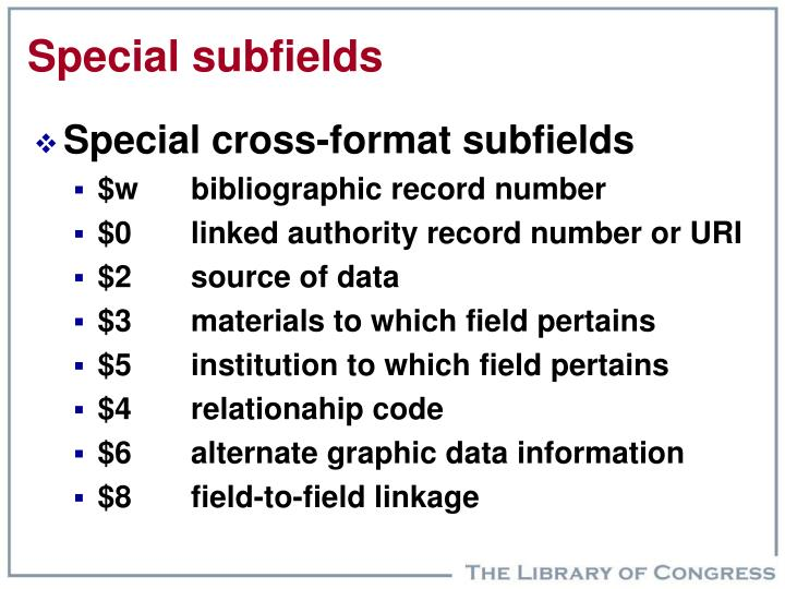 Special subfields
