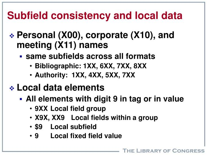 Subfield consistency and local data