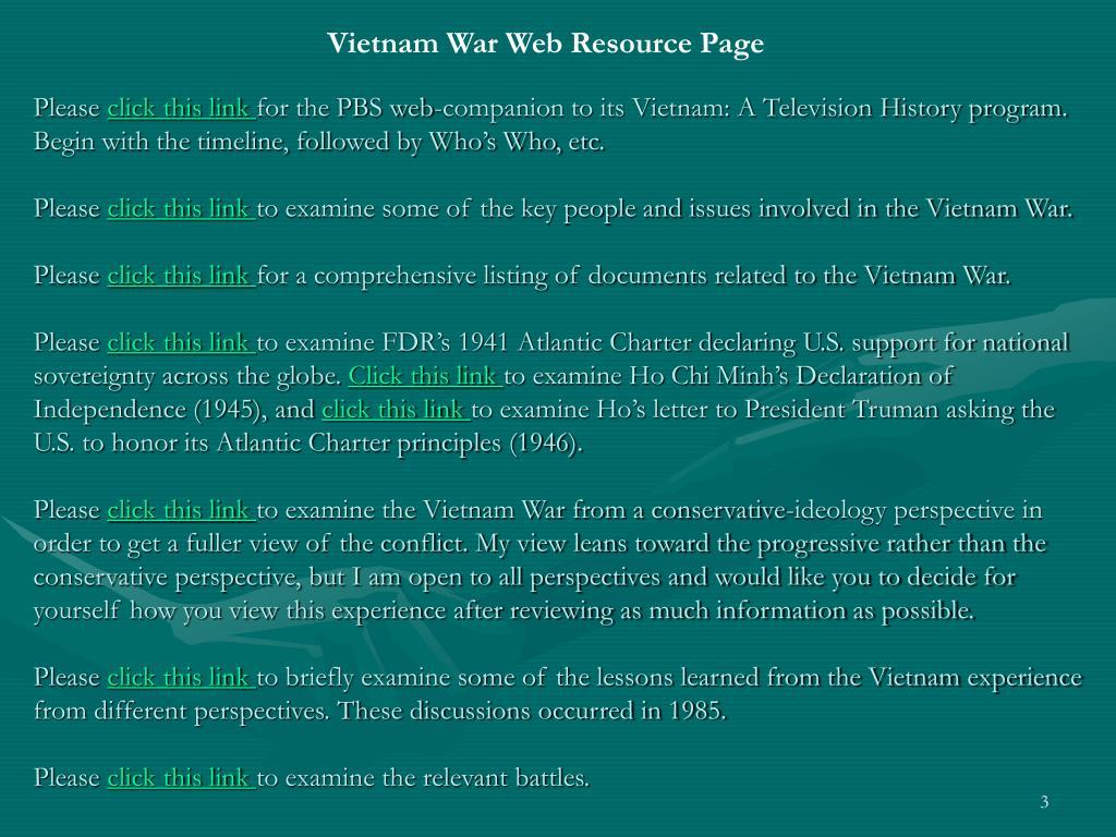 Vietnam War Web Resource Page