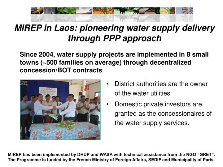 MIREP in Laos: pioneering water supply delivery through PPP approach