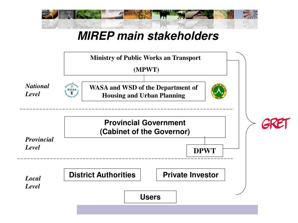 MIREP main stakeholders