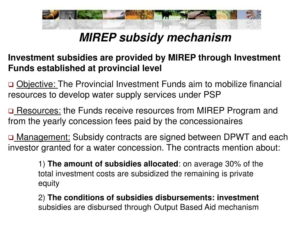 MIREP subsidy mechanism