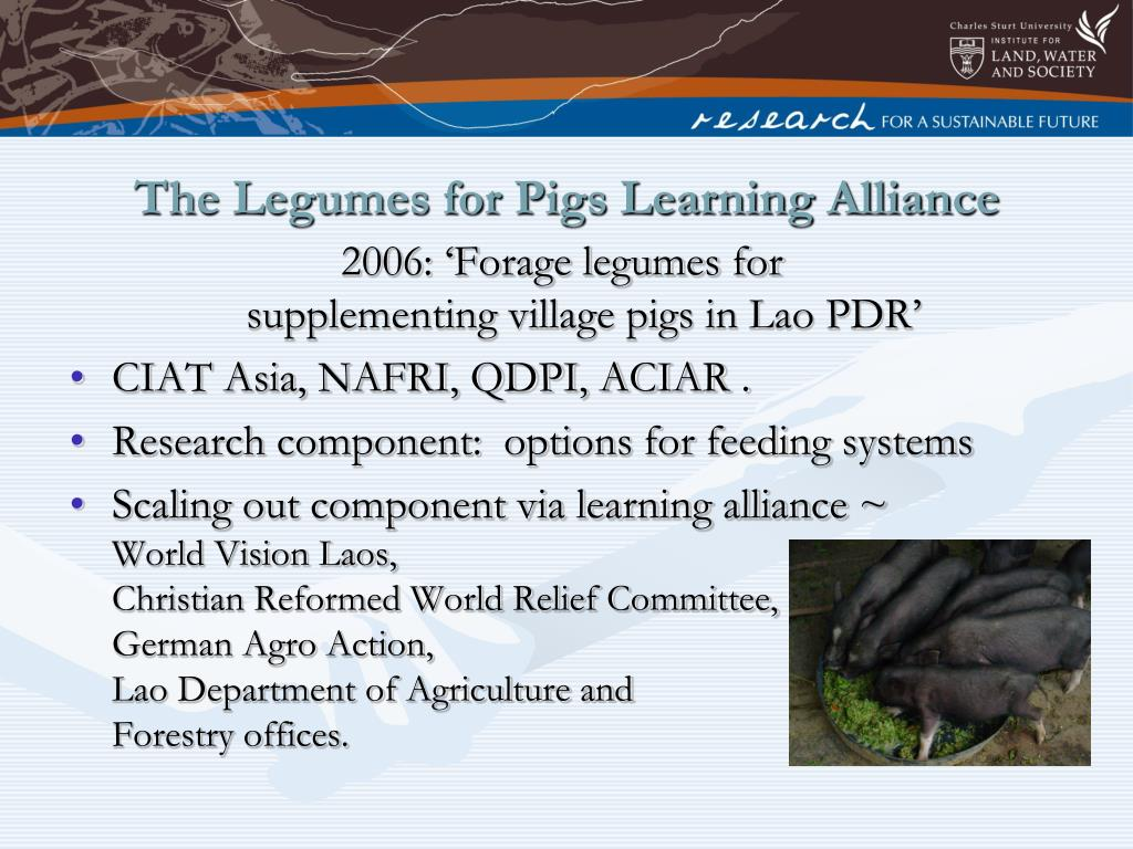 The Legumes for Pigs Learning Alliance