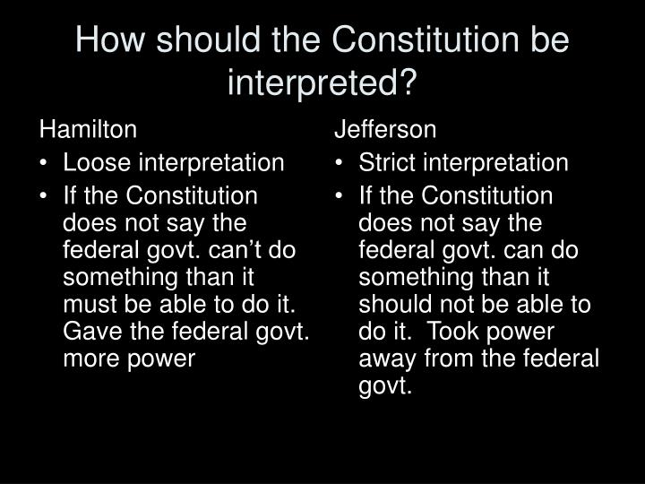 interpreting the constitution strict vs loose Strict constructionism refers to the practice of applying a narrow, or 'strict', interpretation of the us constitution or other legal texts strict constructionists are judges who interpret .