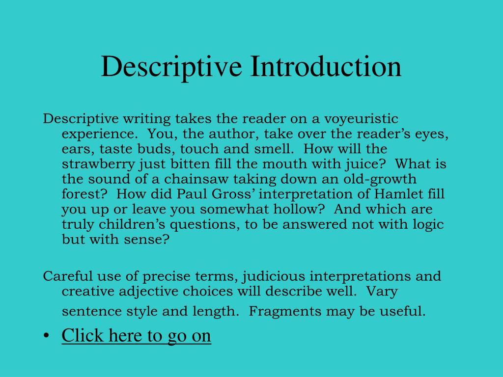 Descriptive Introduction