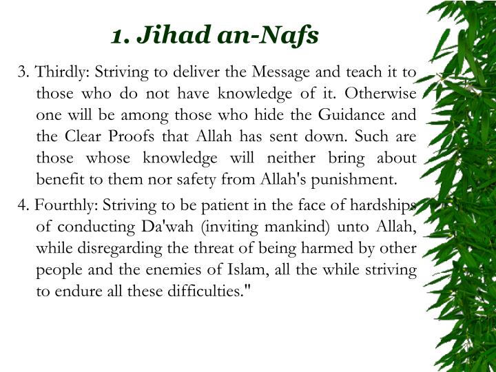 3.Thirdly: Striving to deliver the Message and teach it to those who do not have knowledge of it. Otherwise one will be among those who hide the Guidance and the Clear Proofs that Allah has sent down. Such are those whose knowledge will neither bring about benefit to them nor safety from Allah's punishment.