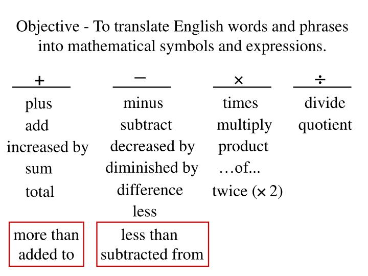 Objective to translate english words and phrases into mathematical symbols and expressions