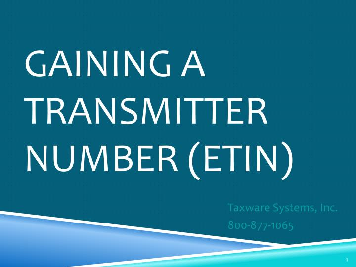 Gaining a transmitter number etin