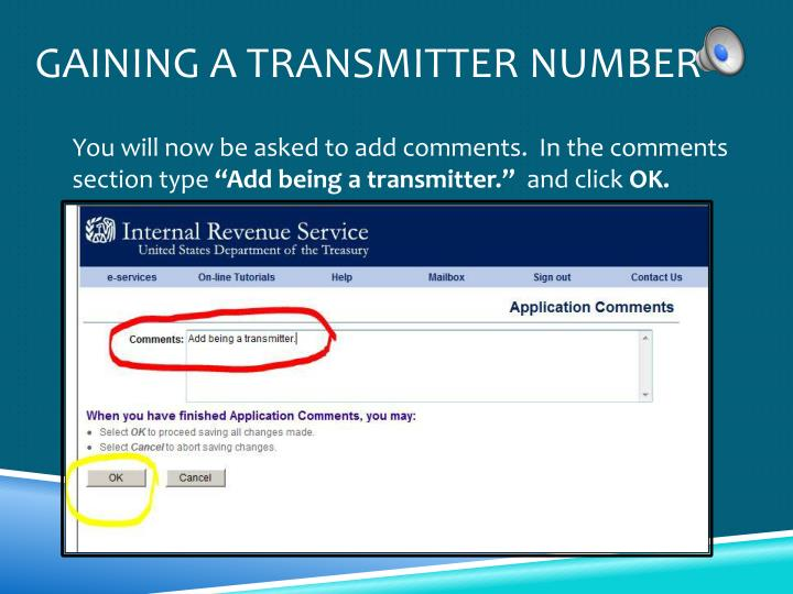 Gaining a Transmitter Number