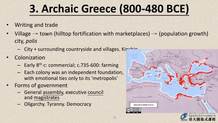 3. Archaic Greece (800-480 BCE)