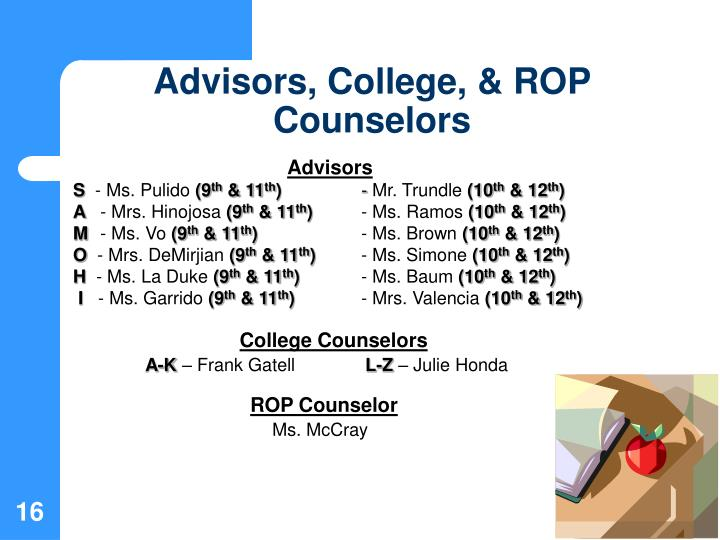 Advisors, College, & ROP Counselors