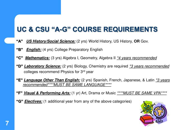 "UC & CSU ""A-G"" COURSE REQUIREMENTS"