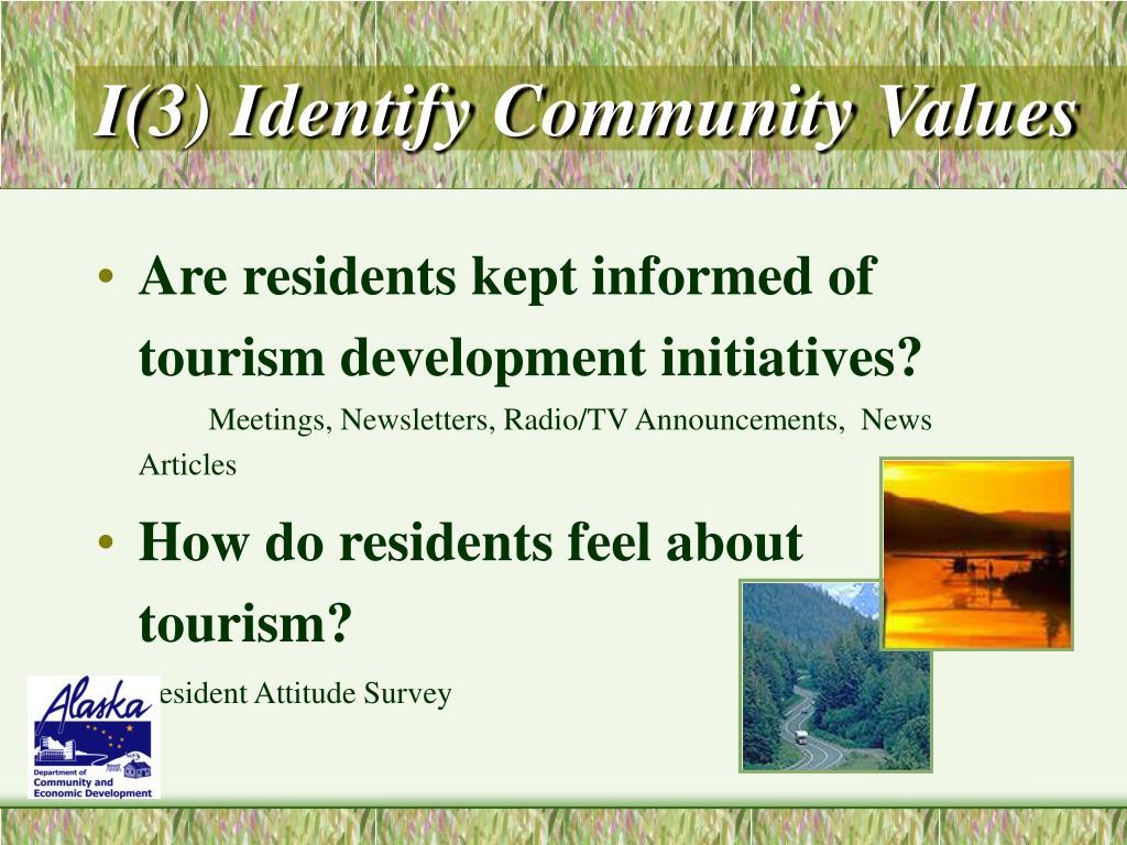 I(3) Identify Community Values