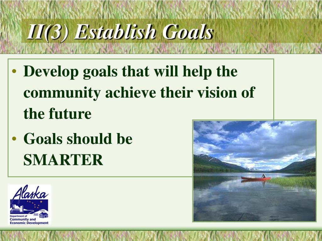 II(3) Establish Goals