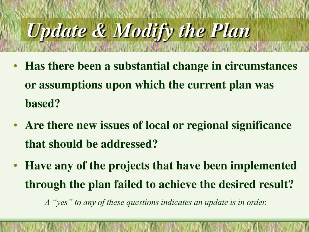 Update & Modify the Plan
