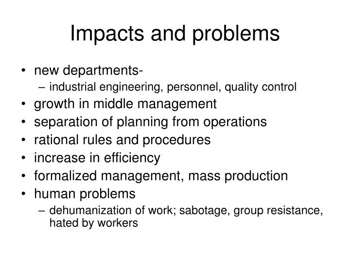 Impacts and problems