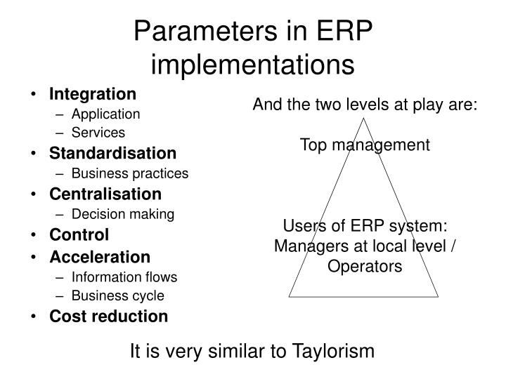 Parameters in ERP implementations
