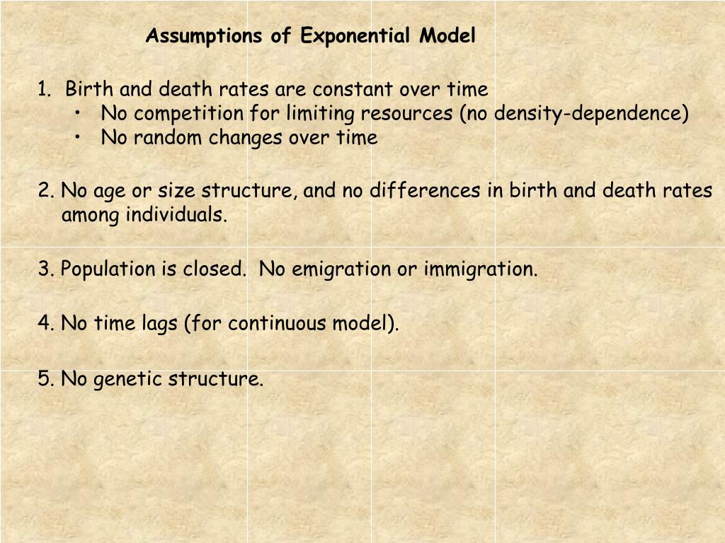 Assumptions of Exponential Model