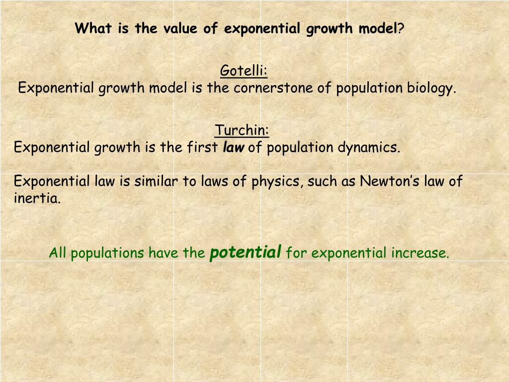 What is the value of exponential growth model