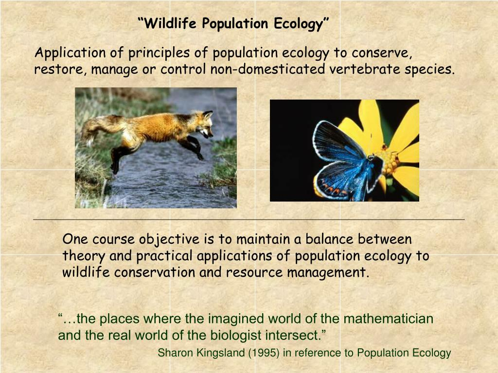 One course objective is to maintain a balance between theory and practical applications of population ecology to wildlife conservation and resource management.