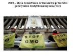 2009 akcja greenpeace w warszawie przeciwko genetycznie modyfikowanej kukurydzy