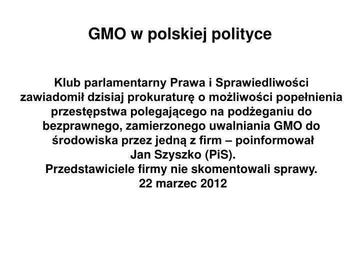 GMO w polskiej polityce
