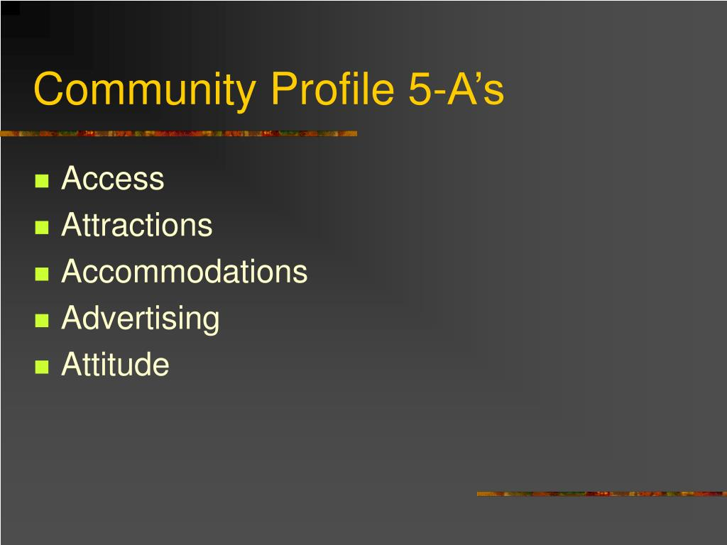 Community Profile 5-A's