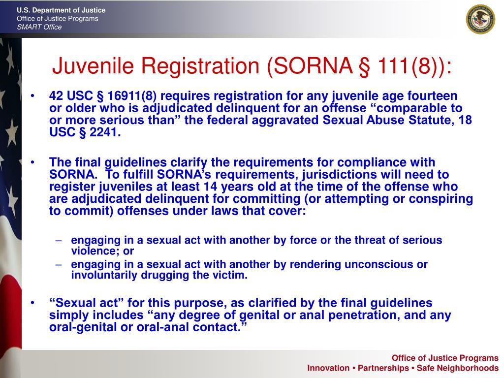 Juvenile Registration (SORNA § 111(8)):