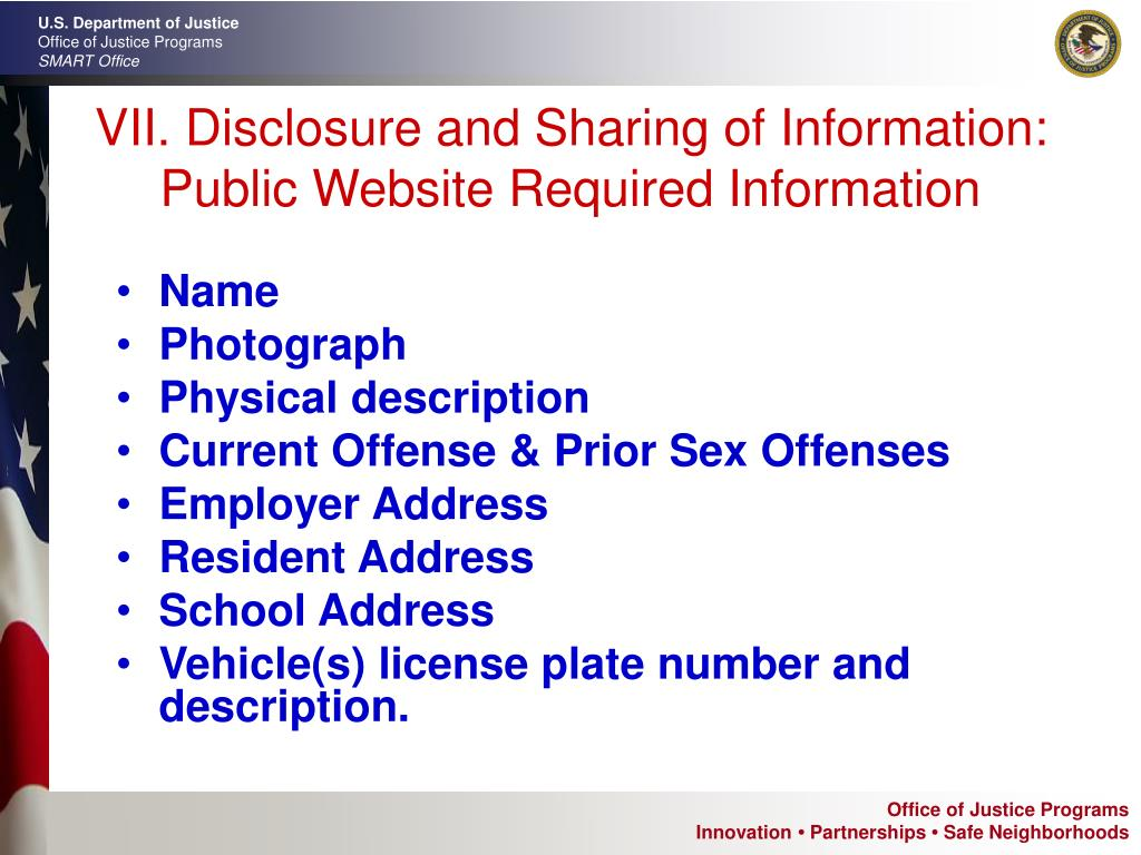 VII. Disclosure and Sharing of Information: Public Website Required Information