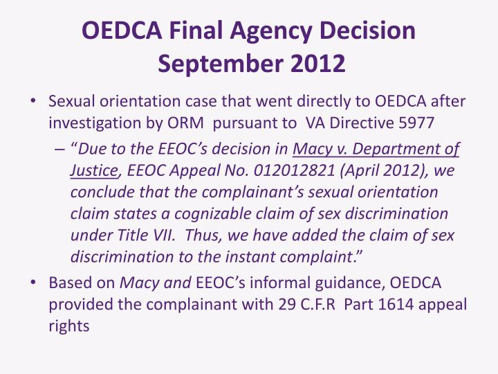 OEDCA Final Agency Decision