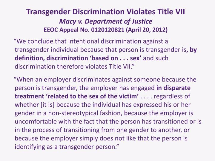 Transgender Discrimination Violates Title VII