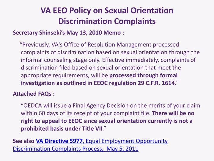 VA EEO Policy on Sexual Orientation