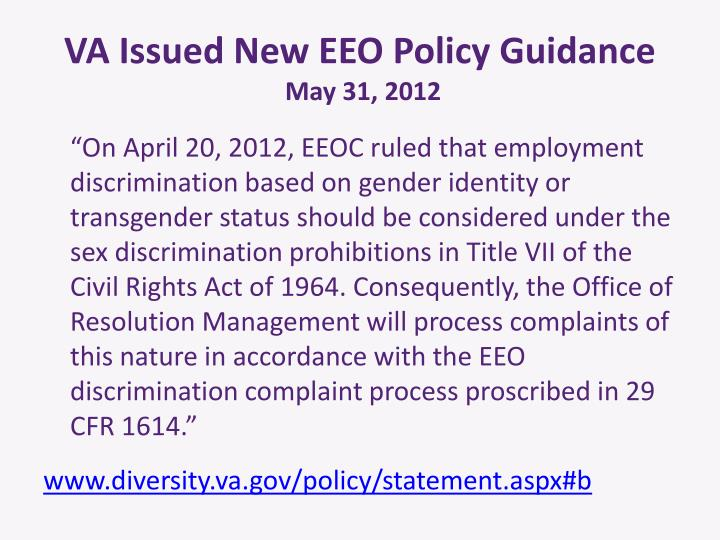 VA Issued New EEO Policy Guidance