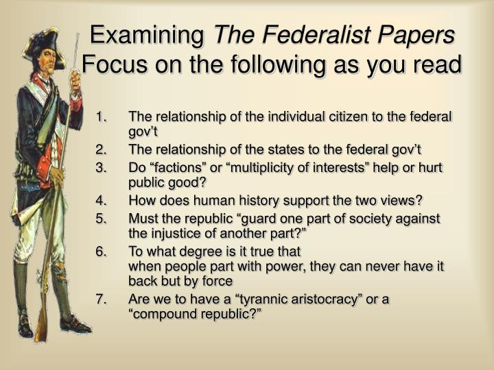 The relationship of the individual citizen to the federal gov't