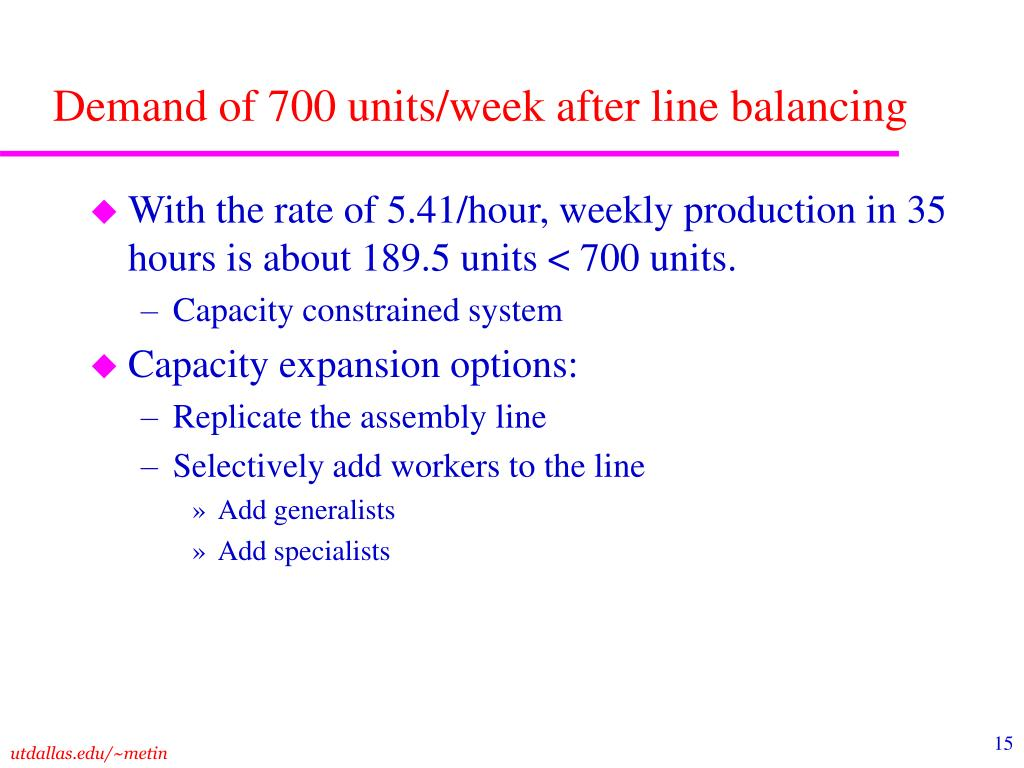 Demand of 700 units/week after line balancing