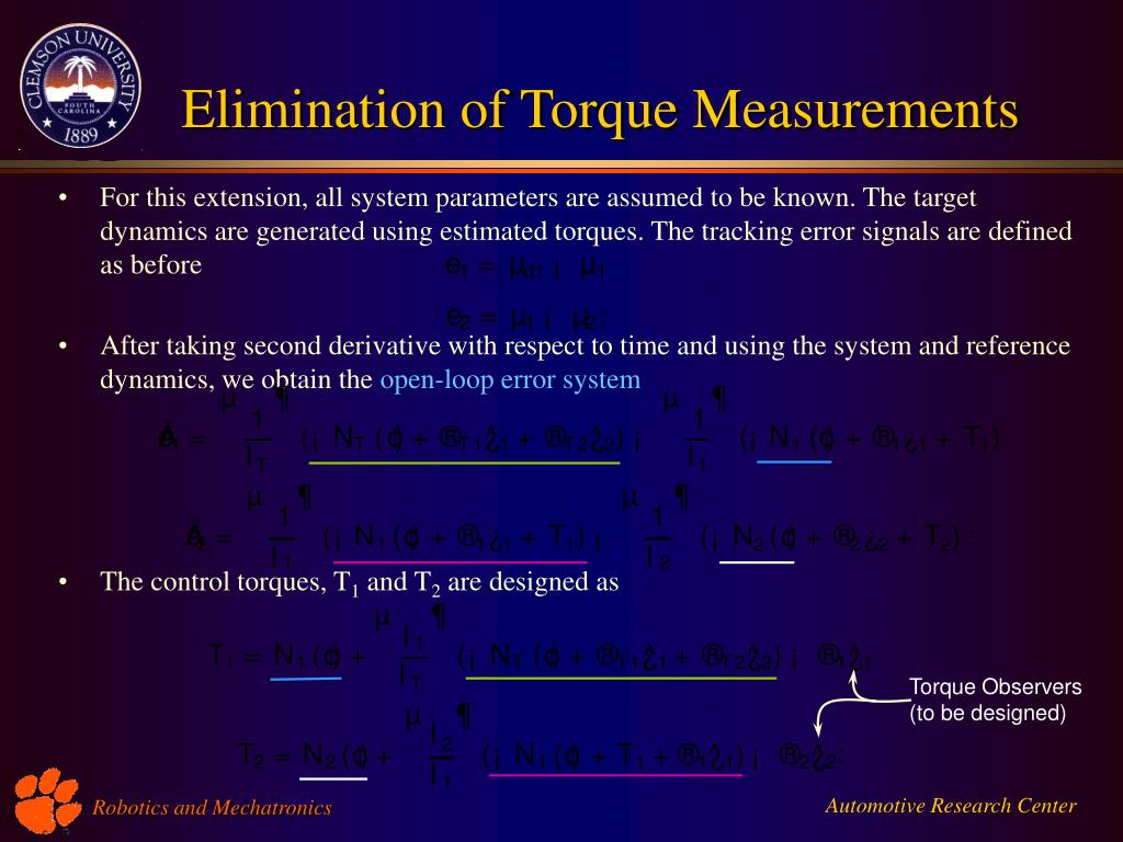 Elimination of Torque Measurements