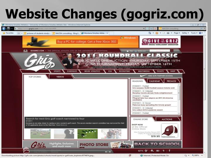 Website Changes (gogriz.com)