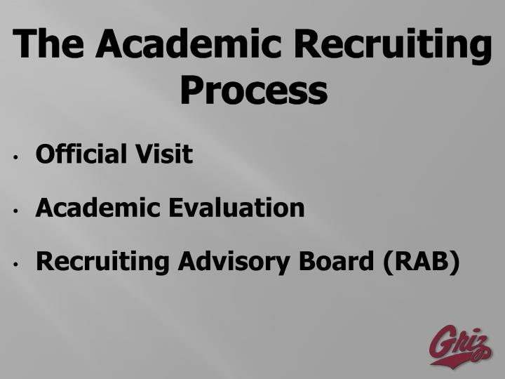 The Academic Recruiting Process
