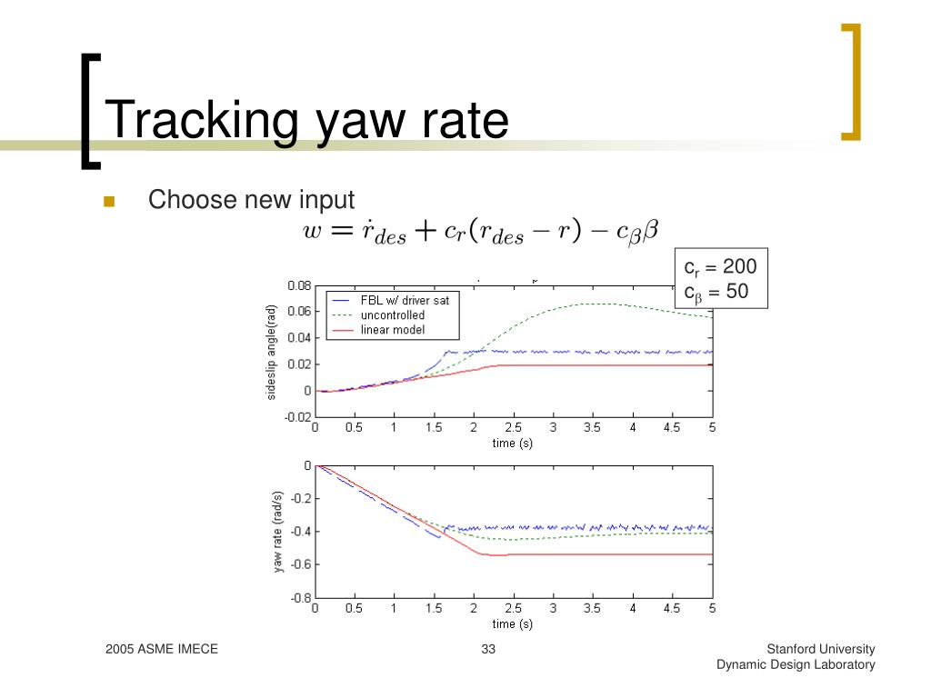 Tracking yaw rate