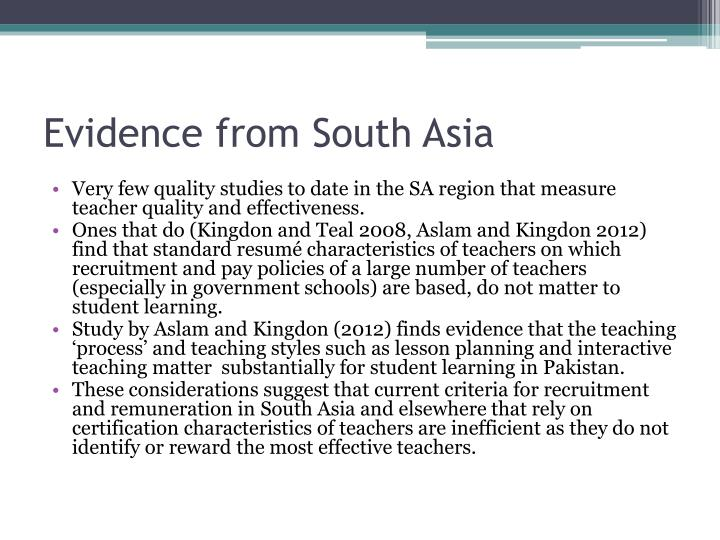 Evidence from South Asia