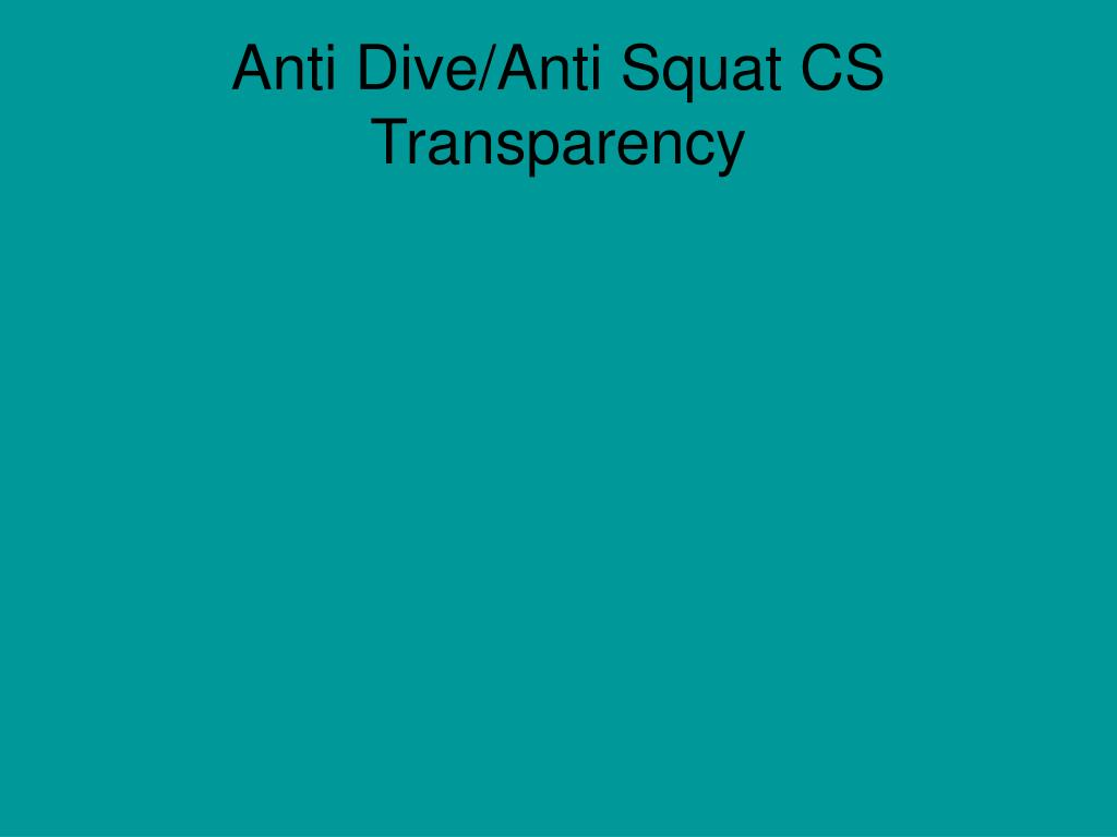 Anti Dive/Anti Squat CS Transparency