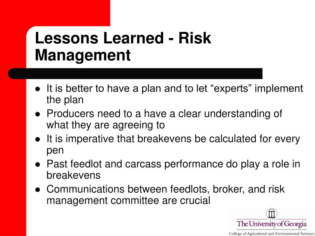 Lessons Learned - Risk Management