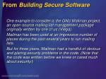 from building secure software