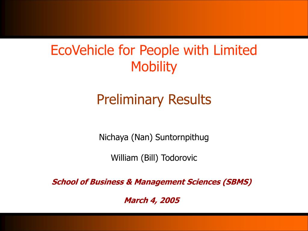 EcoVehicle for People with Limited Mobility