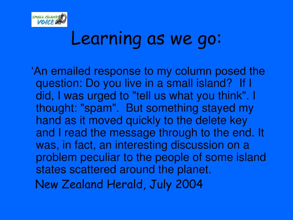 Learning as we go: